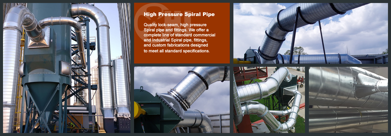 HIgh Pressure Spiral PipeQuality lock-seam, high pressure Siral pipe and fittings. We offer a complete line of standard commercial and Industrial Spiral pipe, fittings, and custom fabrications designed to meet all standard specifications.